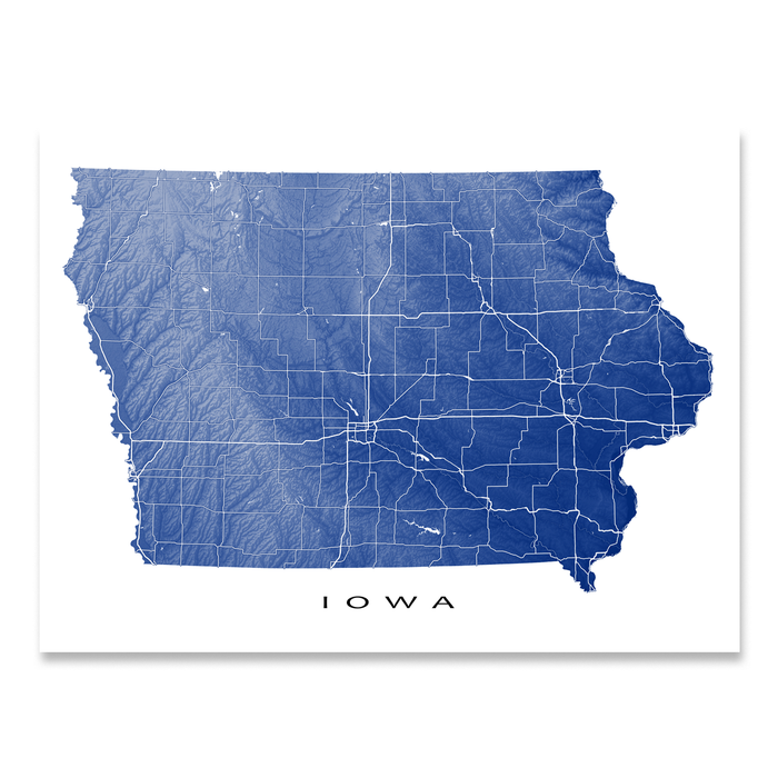 Iowa Map Print, USA State, IA