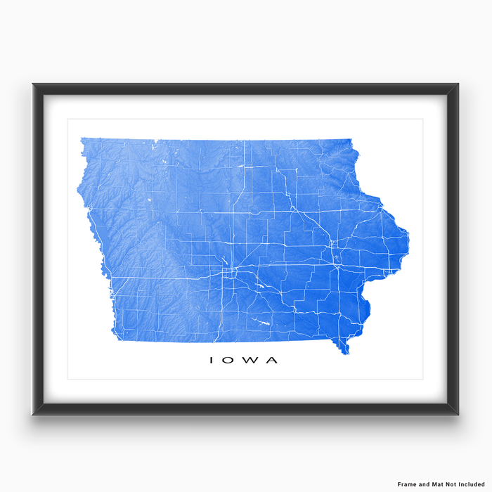 Iowa state map print with natural landscape and main roads in Blue designed by Maps As Art.