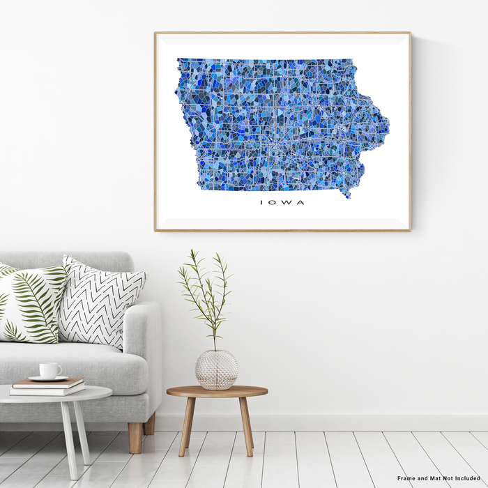Iowa state map art print in blue shapes designed by Maps As Art.