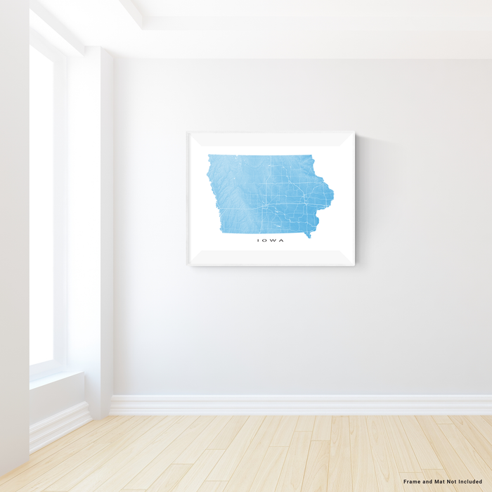 Iowa state map print with natural landscape and main roads in Malibu designed by Maps As Art.