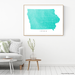 Iowa state map print with natural landscape and main roads in Turquoise designed by Maps As Art.