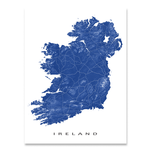 Ireland map print with natural landscape and main roads in Navy designed by Maps As Art.