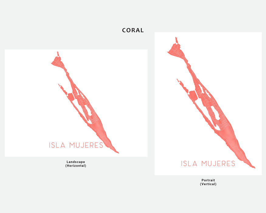 Isla Mujeres Mexico map print in Coral by Maps As Art.