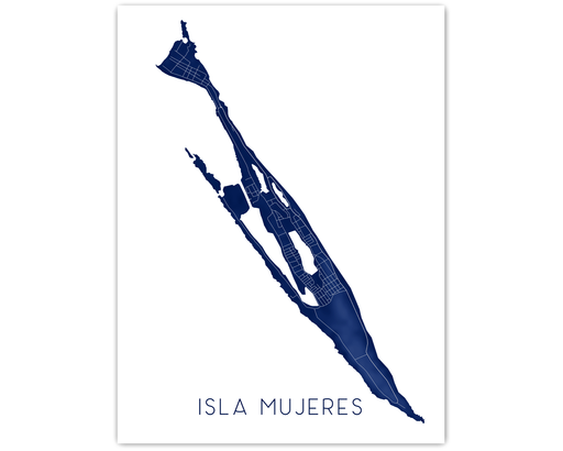 Isla Mujeres Mexico map print in Midnight by Maps As Art.
