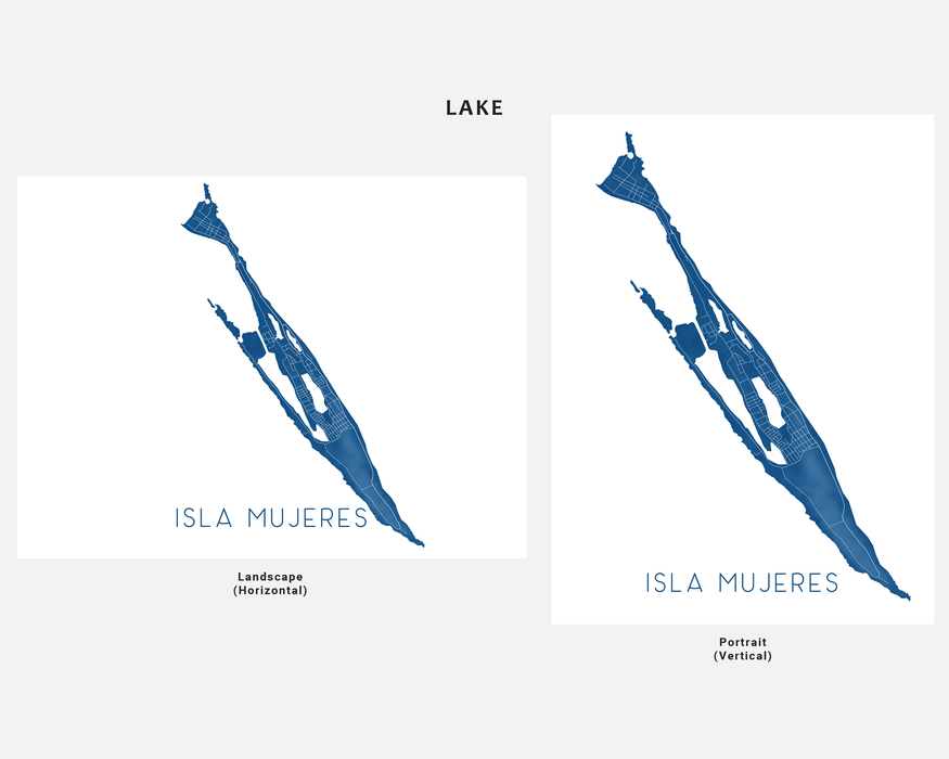 Isla Mujeres Mexico map print in Lake by Maps As Art.