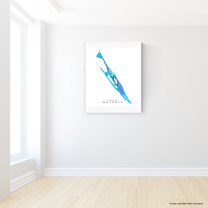 Isla Mujeres, Mexico map art print in blue, aqua and turquoise shapes designed by Maps As Art.