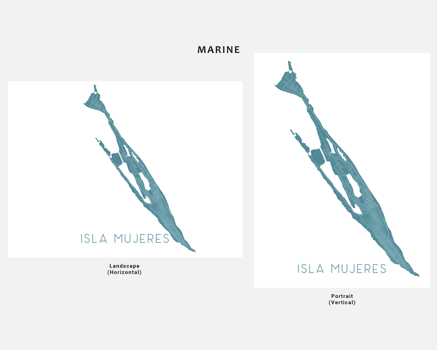 Isla Mujeres Mexico map print in Marine by Maps As Art.