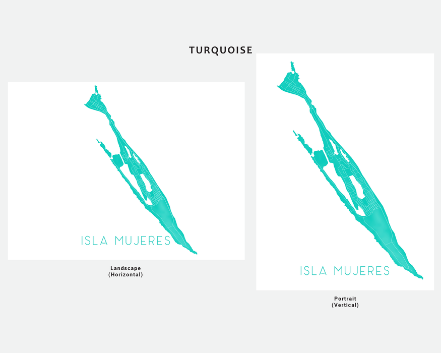 Isla Mujeres Mexico map print in Turquoise by Maps As Art.