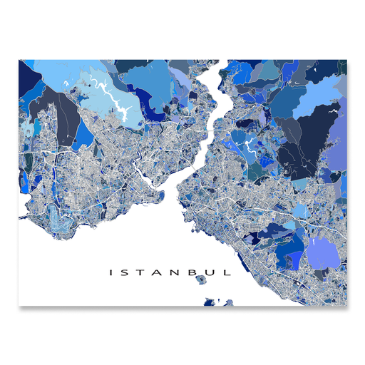 Istanbul, Turkey map art print in blue shapes designed by Maps As Art.