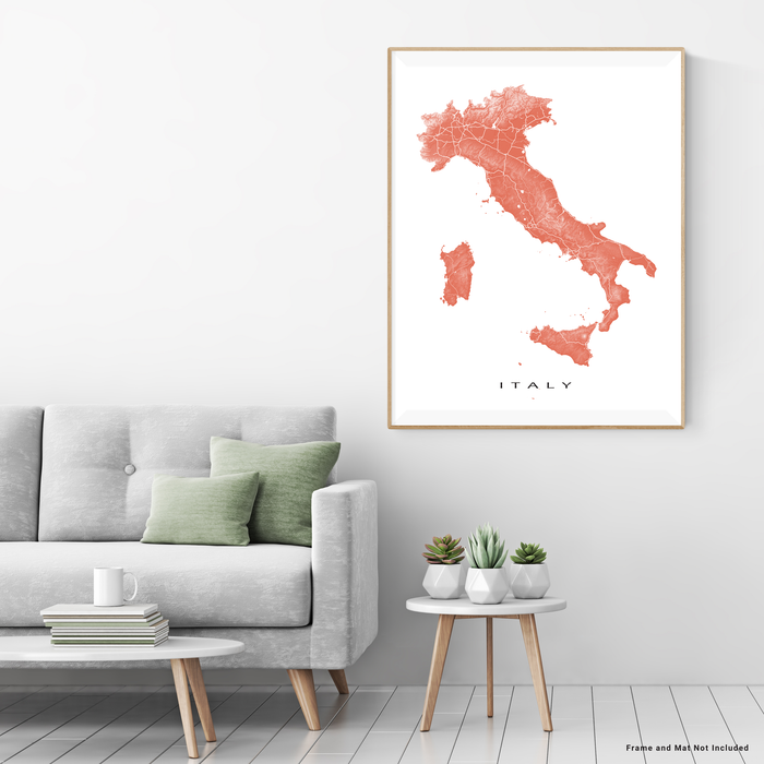 Italy map print with natural landscape and main roads in Terracotta designed by Maps As Art.