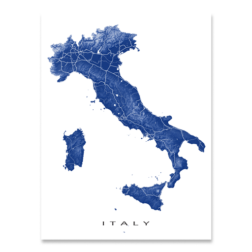 Italy map print with natural landscape and main roads in Navy designed by Maps As Art.