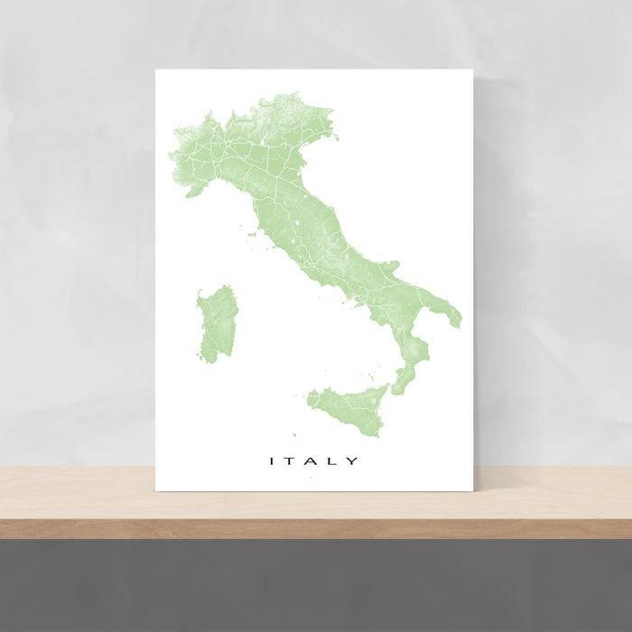 Italy map print with natural landscape and main roads in Sage designed by Maps As Art.