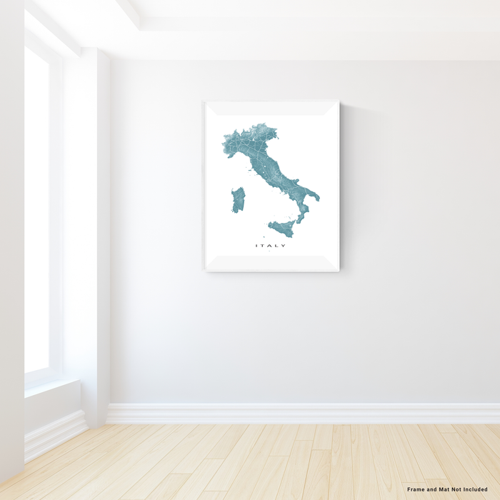 Italy map print with natural landscape and main roads in Marine designed by Maps As Art.