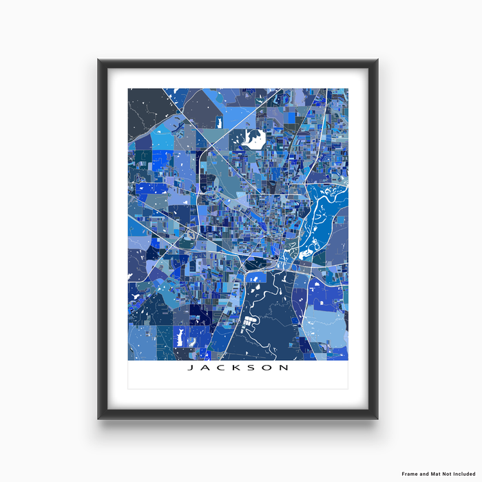 Jackson, Mississippi map art print in blue shapes designed by Maps As Art.