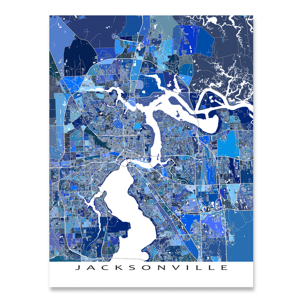 Jacksonville, Florida map art print in blue shapes designed by Maps As Art.