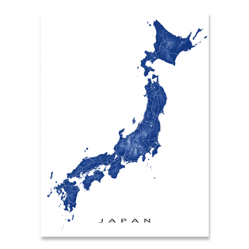 Japan map print with natural landscape and main roads in Navy designed by Maps As Art.
