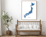 Japan map print with wooden bench home decor by Maps As Art.
