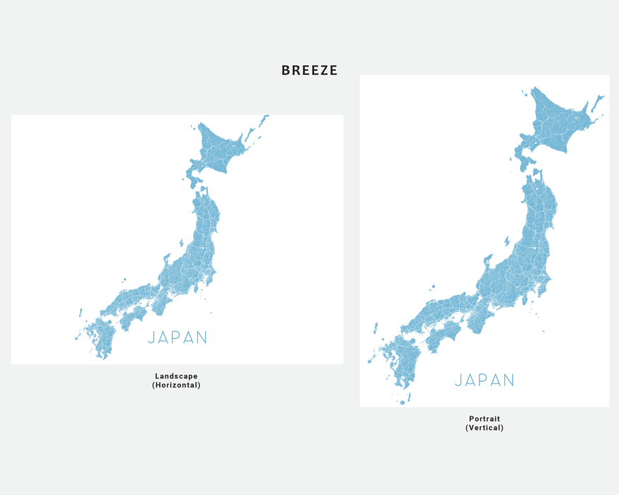 Japan map print in Breeze by Maps As Art.