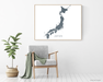 Japan map print by Maps As Art.