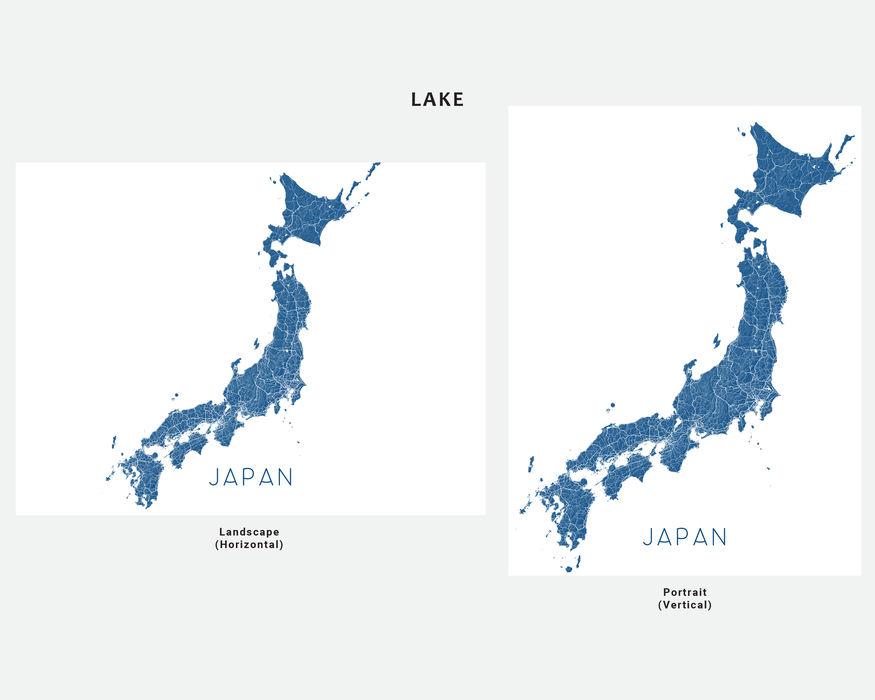 Japan map print in Lake by Maps As Art.