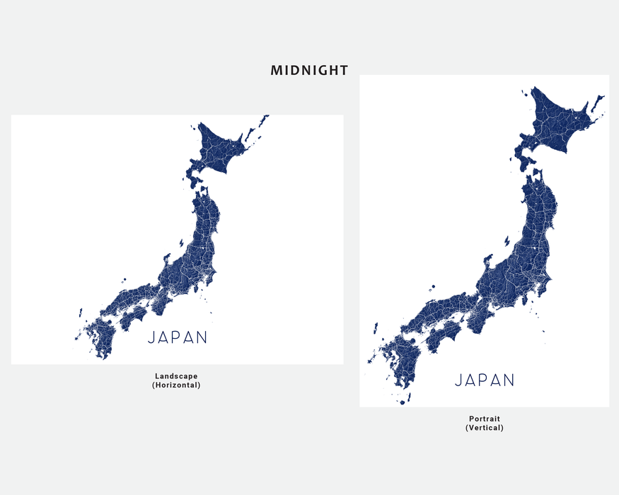 Japan map print in Midnight by Maps As Art.
