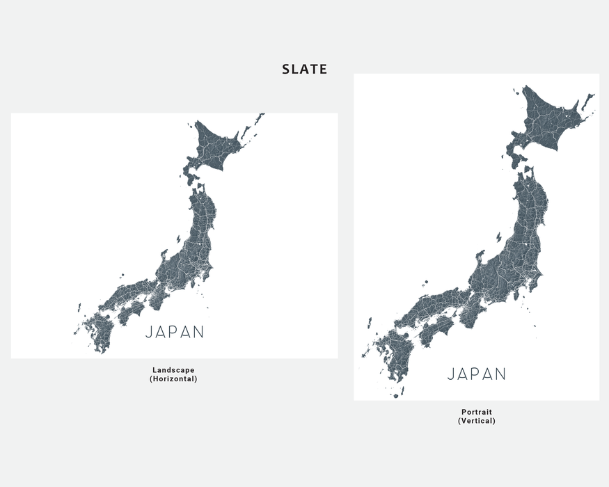 Japan map print in Slate by Maps As Art.