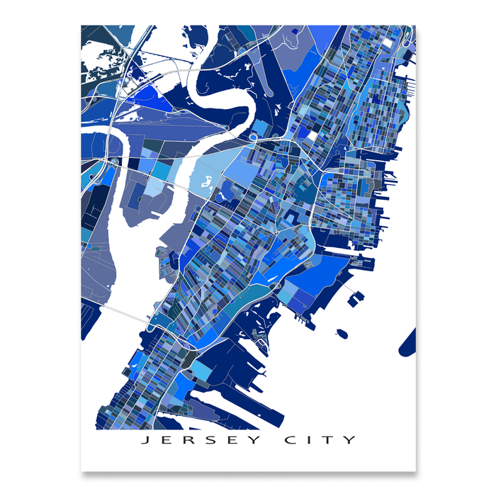 Jersey City, New Jersey map art print in blue shapes designed by Maps As Art.