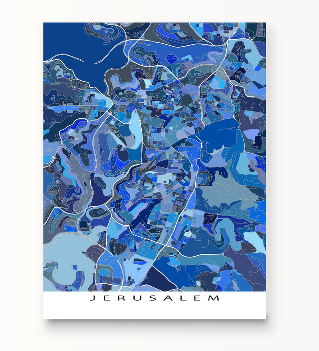 Jerusalem map print in Blue Shapes by Maps As Art.