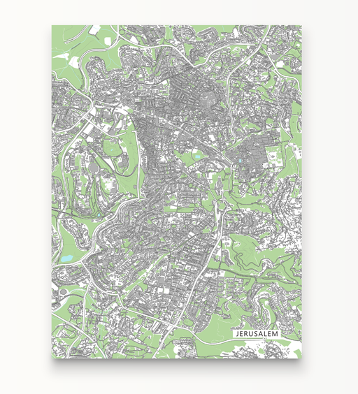 Jerusalem map print with city streets and buildings by Maps As Art.