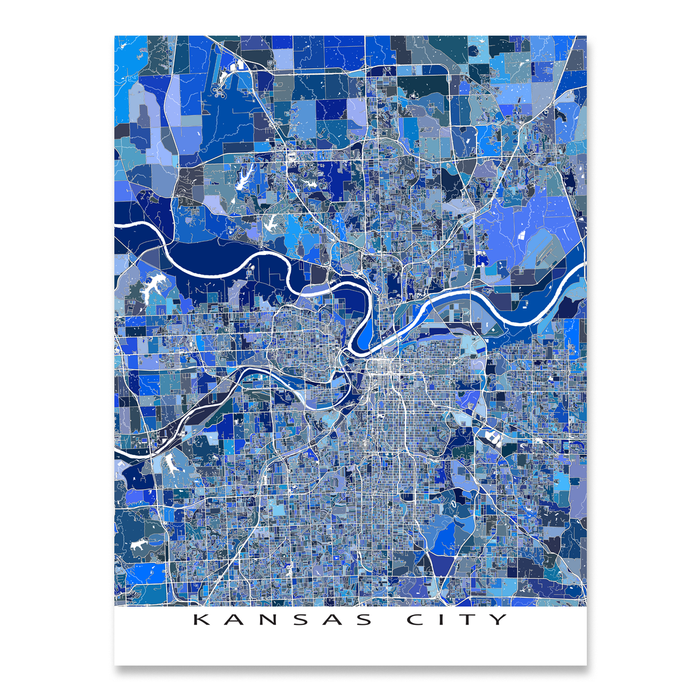 Kansas City, Kansas / Missouri map art print in blue shapes designed by Maps As Art.