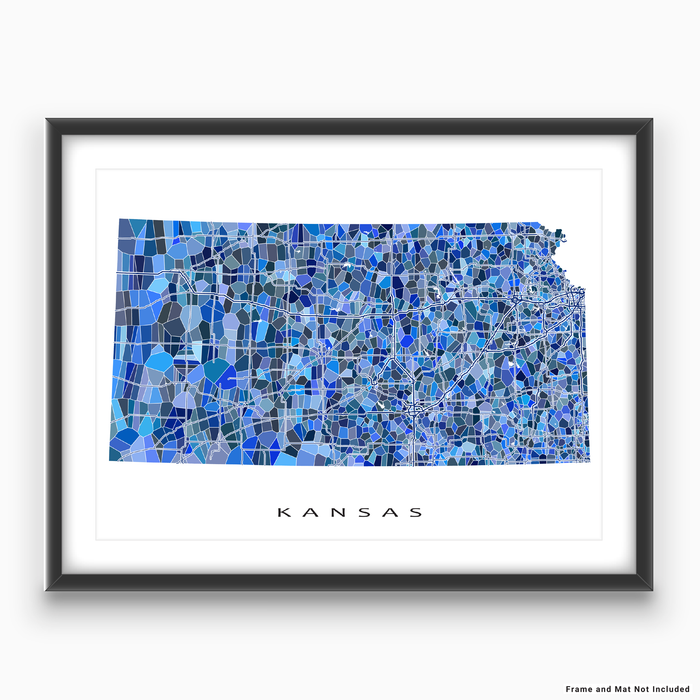 Kansas state map art print in blue shapes designed by Maps As Art.