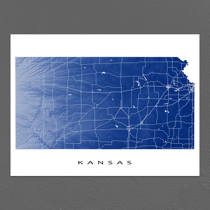 Kansas Map Print, USA State, KS