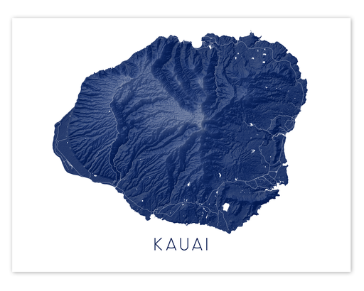 Kauai Hawaii map print in Midnight by Maps As Art.