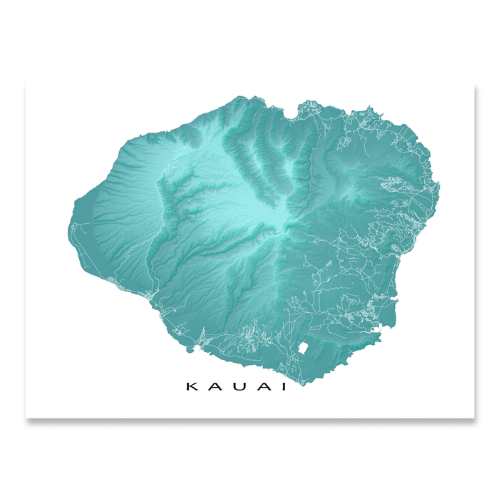 Kauai, Hawaii map print with natural island landscape in aqua tints designed by Maps As Art.