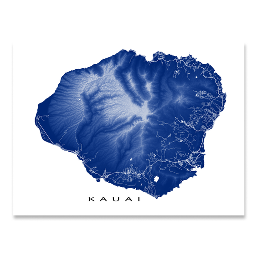 Kauai, Hawaii map print with natural landscape and main roads in Navy designed by Maps As Art.