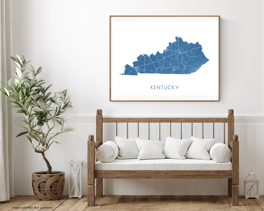 Kentucky state map print with wooden bench home decor by Maps As Art.