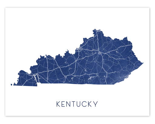 Kentucky state map print in Midnight by Maps As Art.
