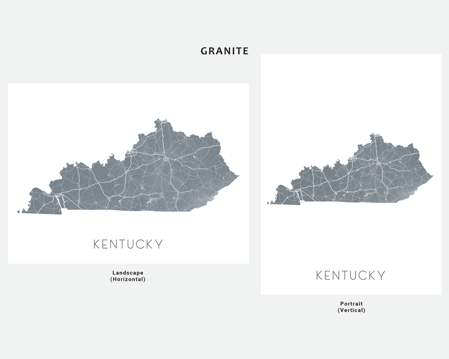 Kentucky state map print in Granite by Maps As Art.