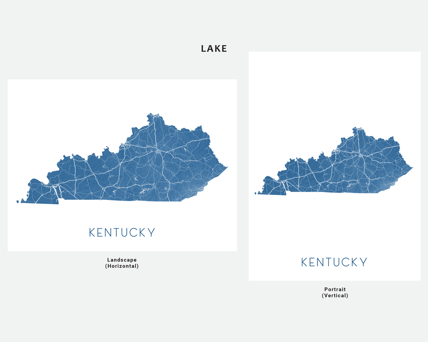 Kentucky state map print in Lake by Maps As Art.