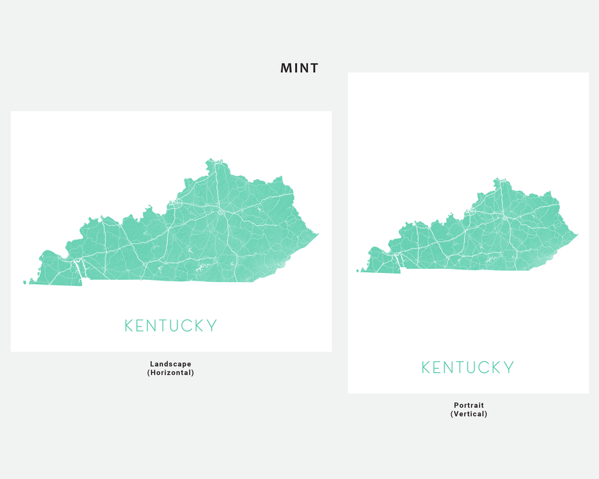 Kentucky state map print in Mint by Maps As Art.