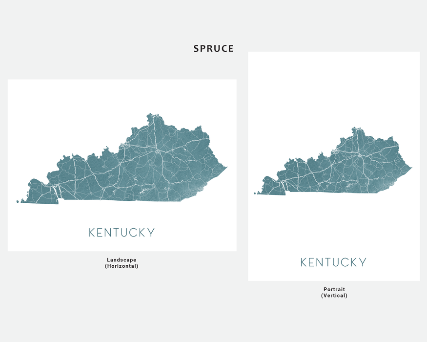 Kentucky state map print in Spruce by Maps As Art.