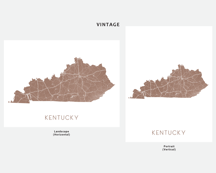 Kentucky state map print in Vintage by Maps As Art.