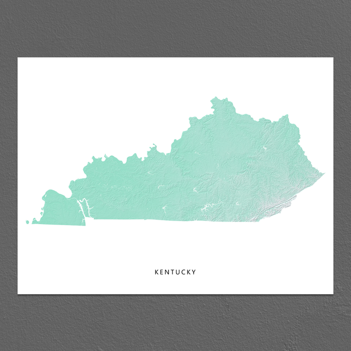 Kentucky Map Print, Aqua Landscape