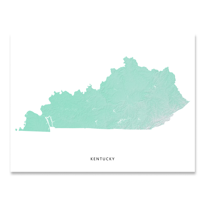 Kentucky state map print with natural landscape in aqua tints designed by Maps As Art.