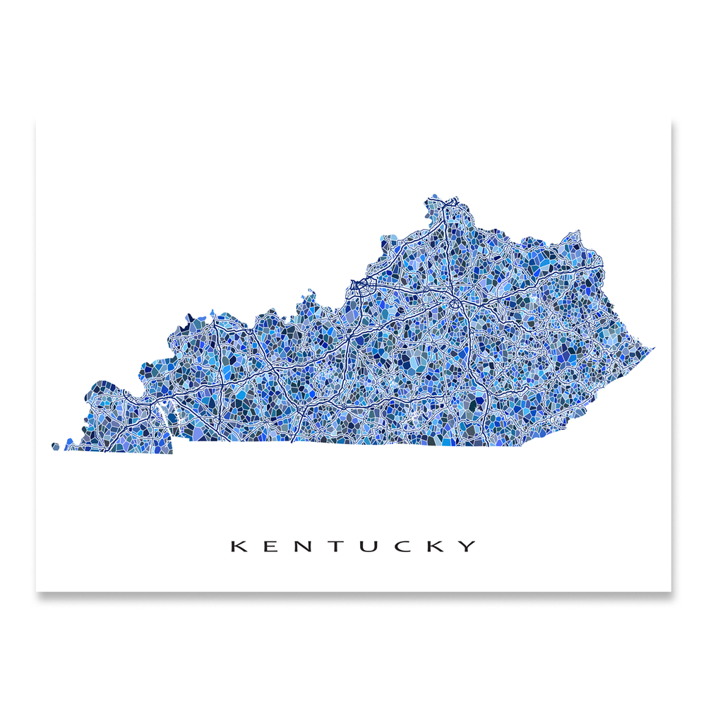 Kentucky state map art print in blue shapes designed by Maps As Art.