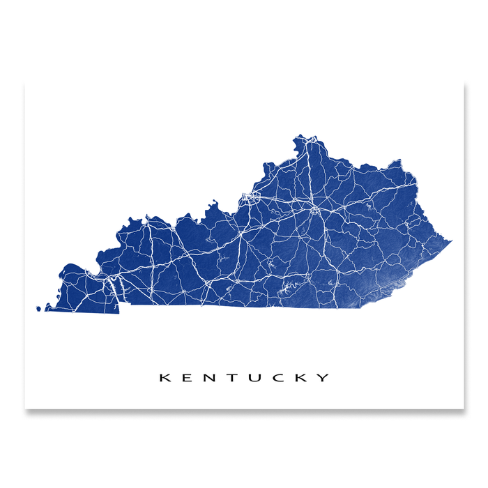 Kentucky state map print with natural landscape and main roads in Navy designed by Maps As Art.