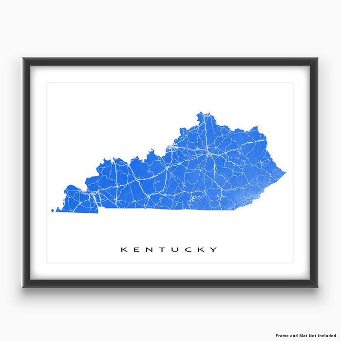 Kentucky state map print with natural landscape and main roads in Blue designed by Maps As Art.