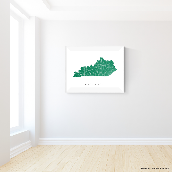 Kentucky state map print with natural landscape and main roads in Green designed by Maps As Art.