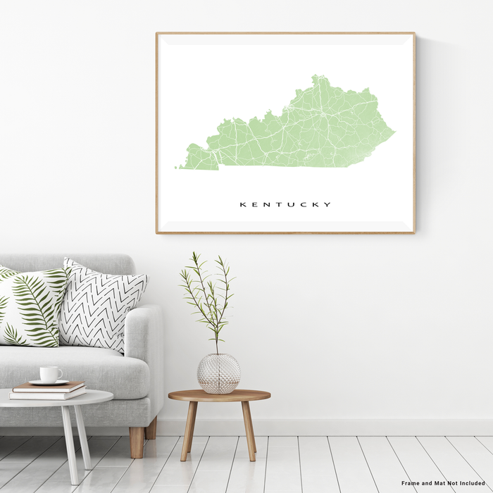 Kentucky state map print with natural landscape and main roads in Sage designed by Maps As Art.