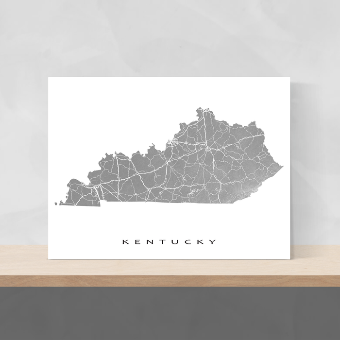 Kentucky state map print with natural landscape and main roads in Grey designed by Maps As Art.